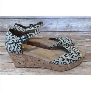 Toms Wedges Animal Print Ankle Strap  Sandals 7.5